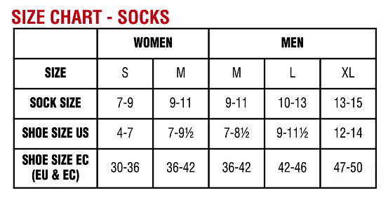 Size chart king technical apparel performance socks made in usa